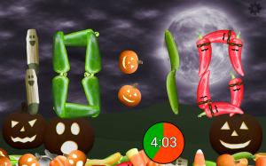 Screenshot of Veggie Clock in Halloween mode